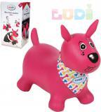 LUDI Pes baby skákací růžový set zvířátko s pumpičkou a šátkem se jmenovkou