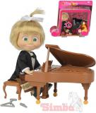 SIMBA Máša a medvěd panenka klavíristka 12cm set s pianem a trianglem na baterie