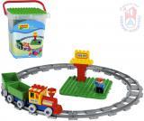ANDRONI Unico Plus baby stavebnice Vlak 28 dílků + figurka v kyblíku pro miminko
