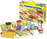 Hamburgerová dílna kreativní set modelína 5 kelímků s nástroji a doplňky v krabici