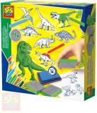 SES CREATIVE Razítka dětská dinosauři kreativní set 11ks s pastelkami