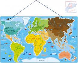 WOODY DŘEVO Svět v obrázcích 77x47cm Hra Puzzle naučné 2v1 mapa světa 86 dílků - zvětšit obrázek