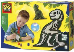 SES CREATIVE Sádrový komplet 3D dino odlitek kostra T-rexe svítí ve tmě - zvětšit obrázek