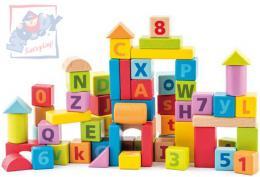 WOODY DŘEVO Pastelové baby kostky naučné s písmeny a číslicemi set 40ks - zvětšit obrázek