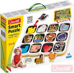 QUERCETTI Baby Smart Puzzle magnetické vkládací Farma 12 dílků oboustranné 2v1 - zvětšit obrázek