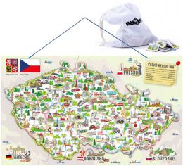 DŘEVO Mapa ČR magnetická 3v1 puzzle + společenská hra + didaktická pomůcka - zvětšit obrázek