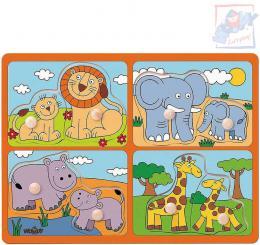 WOODY DŘEVO Baby puzzle s úchyty mláďata 4x2 dílky na desce pro miminko - zvětšit obrázek