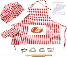WOODY Kuchyňský set dětský Mistr Šéfkuchař pečení kuchařský oděv s nástroji - zvětšit obrázek