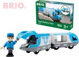 BRIO DŘEVO Set elektrická vlaková souprava + figurka strojvedoucí na baterie - zvětšit obrázek