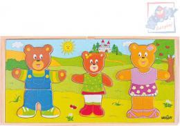 WOODY DŘEVO Puzzle šatní skříň oblékni si medvědí rodinku set 54 dílků - zvětšit obrázek