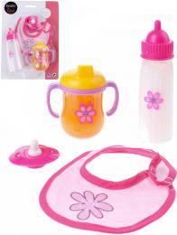 Baby Rose set pro panenku miminko na krmení s lahvičkou a bryndákem na kartě - zvětšit obrázek