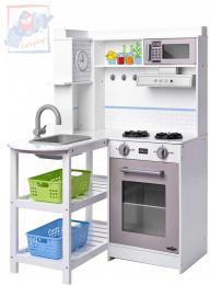 WOODY Kuchyňka dětská rohová bílá set s plastovými koši na baterie Světlo Zvuk - zvětšit obrázek