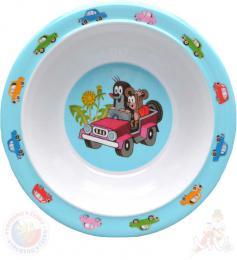 MORAVSKÁ ÚSTŘEDNA Miska jídelní Krtek a autíčko (krteček) 16cm modrý - zvětšit obrázek