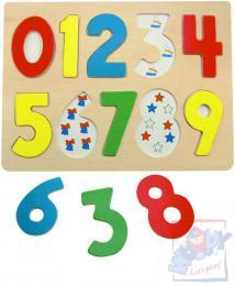 WOODY DŘEVO Puzzle vkládací číslice s beruškami na desce - zvětšit obrázek