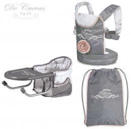 DECUEVAS Set cestovní Reborn 3v1 židlička nosítko batoh pro panenku miminko - zvětšit obrázek
