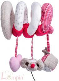 LUMPIN PLYŠ Baby spirála růžová Kočka Angelique s hračkami pro miminko - zvětšit obrázek