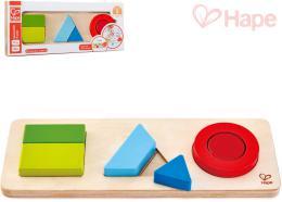 HAPE DŘEVO Baby puzzle vkládací geometrické tvary set 6 dílků oboustranné - zvětšit obrázek