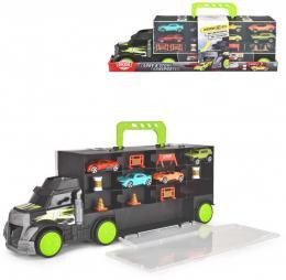 DICKIE Auto transportér 43cm kufr 2v1 set se 4 autíčky a doplňky kov - zvětšit obrázek