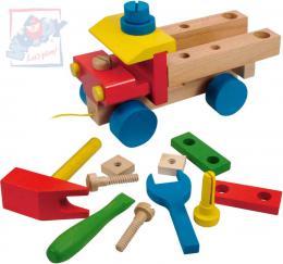 WOODY DŘEVO Auto montážní tahací dřevěné k sestavení set se 3 nástroji - zvětšit obrázek