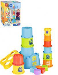 Baby hrad stohovací vkládačka kyblík 2v1 set 18ks plast - zvětšit obrázek
