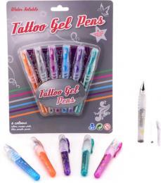 Pera gelová tetovací set 6 barev smývatelné vodou se šablonami - zvětšit obrázek