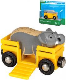 BRIO DŘEVO Set vagónek nákladní + slon doplněk k vláčkodráze - zvětšit obrázek
