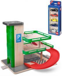 WOODY DŘEVO Garáž s výtahem herní set parkovací dům se SIKU autíčky - zvětšit obrázek