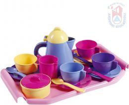 ANDRONI Kávový a čajový set dětské plastové nádobí s podnosem pro holčičky - zvětšit obrázek