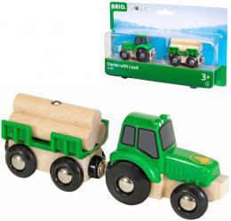 BRIO DŘEVO Set traktor s přívěsem a nákladem dřeva doplněk k vláčkodráze - zvětšit obrázek