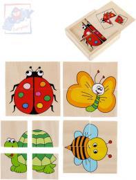 WOODY DŘEVO Baby minipuzzle Beruška 4x4 dílky v krabičce 4v1 pro miminko - zvětšit obrázek
