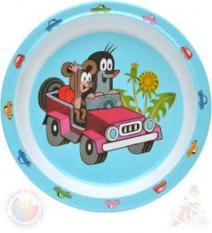 MORAVSKÁ ÚSTŘEDNA Talíř jídelní Krtek a autíčko (krteček) 21cm modrý - zvětšit obrázek
