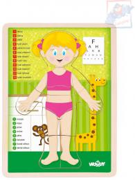 WOODY DŘEVO Puzzle holka naučná skládačka set 13 dílků s podložkou - zvětšit obrázek