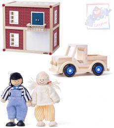WOODY DŘEVO Moderní vila domek pro panenky herní set se 2 panáčky a autíčkem - zvětšit obrázek
