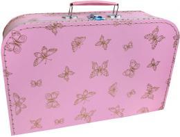 KAZETO Kufr dětský růžový se zlatými motýlky 35x21x10cm šitý lepenkový - zvětšit obrázek