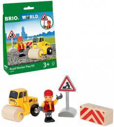BRIO DŘEVO Práce na silnici herní set s parním válcem a figurkou - zvětšit obrázek