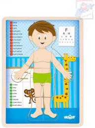 WOODY DŘEVO Puzzle kluk naučná skládačka set 13 dílků s podložkou - zvětšit obrázek