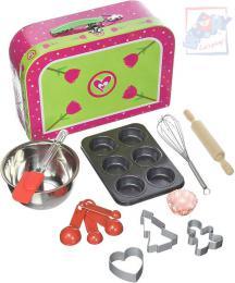 WOODY Pečeme muffiny kuchyňský dětský set s nástroji a košíčky v kufříku - zvětšit obrázek