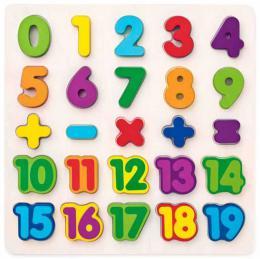 WOODY DŘEVO Puzzle vkládací číslice na desce *DŘEVĚNÉ HRAČKY* - zvětšit obrázek