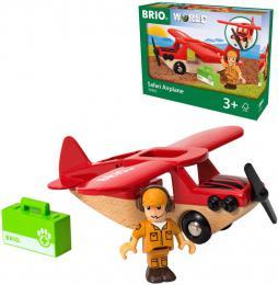 BRIO DŘEVO Safari letadlo set s figurkou doplněk k vláčkodráze - zvětšit obrázek