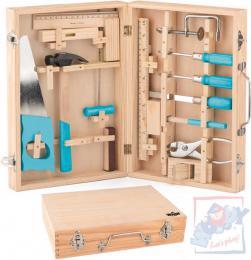 WOODY DŘEVO Nářadí dětské kovový set 16ks v dřevěném kufříku - zvětšit obrázek