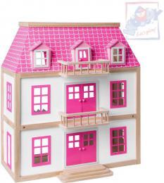 WOODY DŘEVO Vila Wisteria domeček pro panenky set 30ks se 2 figurkami a doplňky - zvětšit obrázek