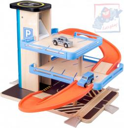 WOODY DŘEVO Garáž 2 patra parkovací dům s výtahem set se 2 autíčky plast - zvětšit obrázek