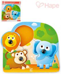HAPE DŘEVO Baby puzzle vkládací s úchyty zvířátka džungle 3 dílky na desce - zvětšit obrázek