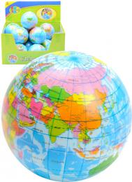 Míček měkký 7cm balonek potištěný zeměkoule mapa světa - zvětšit obrázek