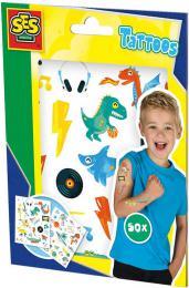 SES CREATIVE Tetování pro děti 2 archy set 50ks tetovačky pro kluky - zvětšit obrázek