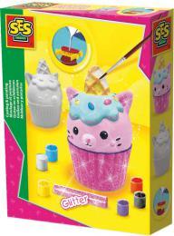 SES CREATIVE Cupcake kreativní set odlévání a malování ze sádry s třpytkami - zvětšit obrázek