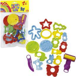 Dětská plastová vykrajovátka set 16ks s válečkem a nožíkem různé druhy v sáčku - zvětšit obrázek