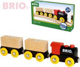 BRIO DŘEVO Vlaková souprava set 5ks mašinka + 2 vagonky s nákladem - zvětšit obrázek