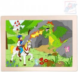 WOODY DŘEVO Puzzle v rámečku Princ Bajaja 24x17cm skládačka 24 dílků - zvětšit obrázek