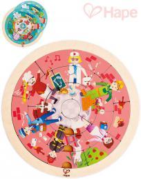 HAPE DŘEVO Puzzle kruhové povolání oboustranná skládačka v rámečku - zvětšit obrázek